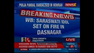 Bengal: Pooja Pandal and idols of Goddess Saraswati set ablaze in Howrah - NEWSXLIVE