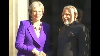 Prime Minister Narendra Modi meets British PM Theresa May at 10 Downing Street in London - ABPNEWSTV