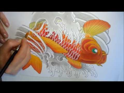Koi Fish Painting (Pintura Carpa) tattoo style by NINA PAVIANI