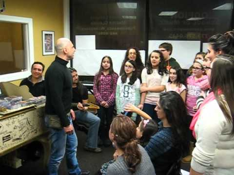 Kostas Milosis with students of the Chicago Hellenic Choir
