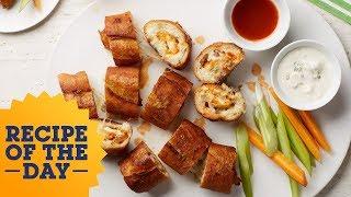Recipe of the Day: Buffalo Chicken-Stuffed Garlic Bread   Food Network - FOODNETWORKTV