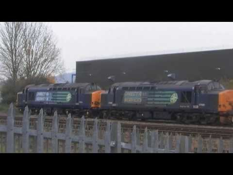 DRS 37611 AND 37688 ON 6M63 FLASK ARRIVE AT GLOUCESTER YARD 041213
