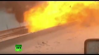 Moment car explodes in deadly traffic pile-up in Russia - RUSSIATODAY