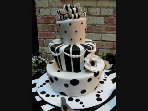 black & white Fondant cakes/ pasteles,tortas en blanco y negro
