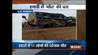 Madhya Pradesh: 11 die in Bus-truck collision in Guna - INDIATV