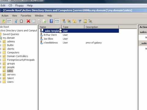 Windows Server 2008: creating active directory templates