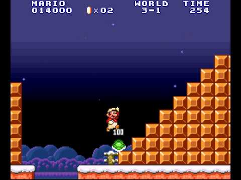 Super Mario All-Stars - Super Mario All-Stars (SNES) 100 Lives Trick in World 3-1 of Super Mario Bros. (All Stars Version) - User video