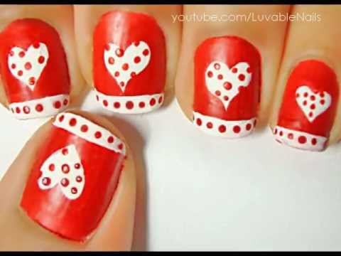 Valentine's Day Hearts with Red Dots - Nails Art -- tutorial