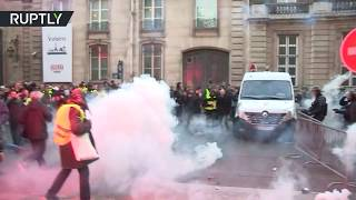 RAW: French police deploy tear gas and pepper spray during protests against fuel prices - RUSSIATODAY