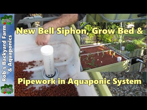 Bell siphon, grow bed & pipework explanation. IBC Aquaponic System construction part 6.