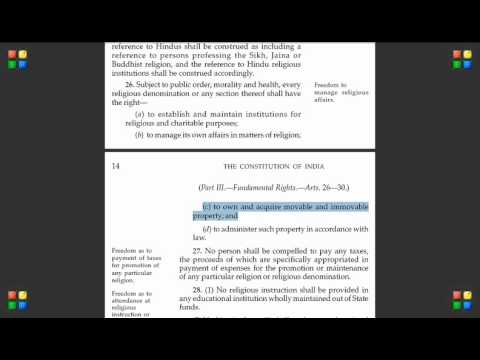 Indian Constitution - Video 16 (Article 26 Article 27  Religious Freedom)