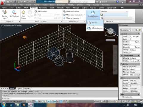 Belajar Video Tutorial AutoCAD - Membuat Penerangan Spot Light di Autocad