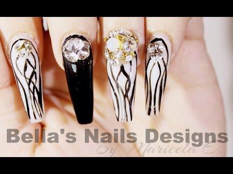 Uñas Acrilicas: black & white Nails
