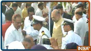 BJP अध्यक्ष Amit Shah पहुंचे Miramar Beach Manohar Parrikar को श्रद्धा सुमन पेश करने - INDIATV