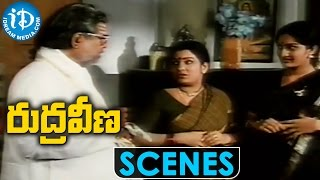 Rudraveena Movie Scenes || Chiranjeevi gets Emotional after a fight with Gemini Ganesan - IDREAMMOVIES