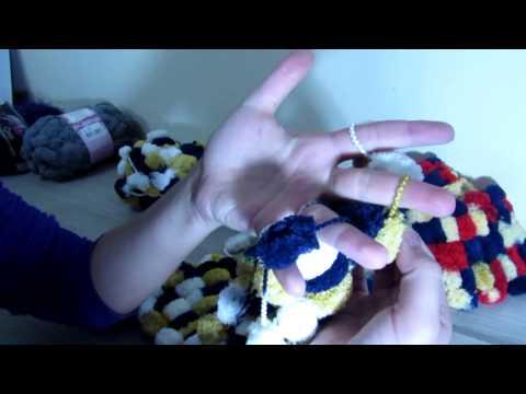 Cachecol de dedos - Lã Pompom
