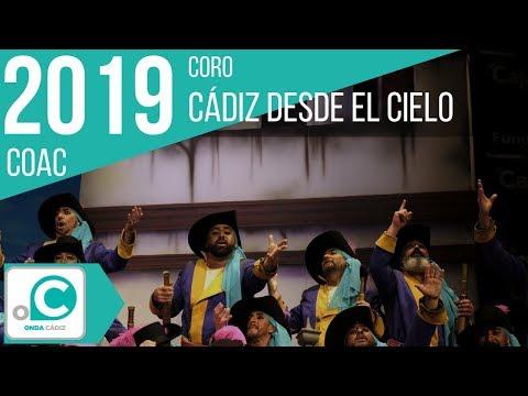 La agrupación Cádiz desde el cielo llega al COAC 2019 en la modalidad de Coros. En años anteriores (2018) concursaron en el Teatro Falla como Los queus de Cai, consiguiendo una clasificación en el concurso de Cuartos de final.