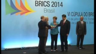 16 July, 2014 - Leaders of five BRICS countries pose for group photograph in Brazil - ANIINDIAFILE