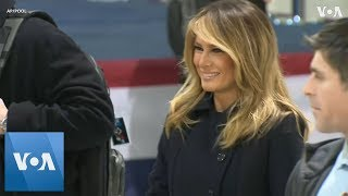 Melania Trump Visits Service Members and Families - VOAVIDEO