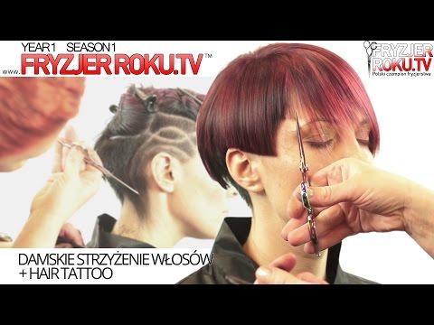 Damskie strzyżenie włosów + HAIR TATTOO Women's haircut FryzjerRoku.tv