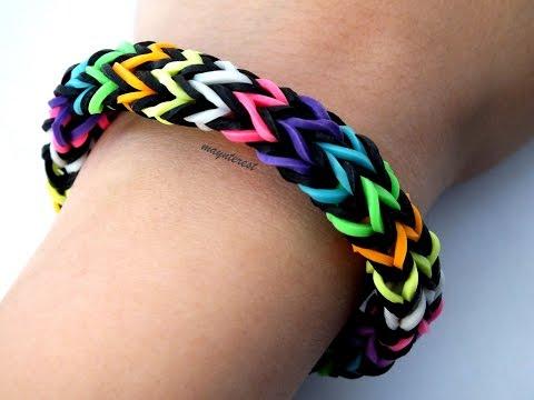 Pulsera de gomitas Zigzag multicolor SIN TELAR / Multicolor zigzag bracelet NO LOOM