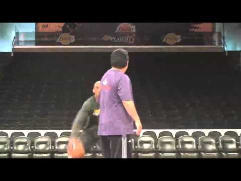 Lakers guard Kobe Bryant shooting before Game 2 of Mavericks game