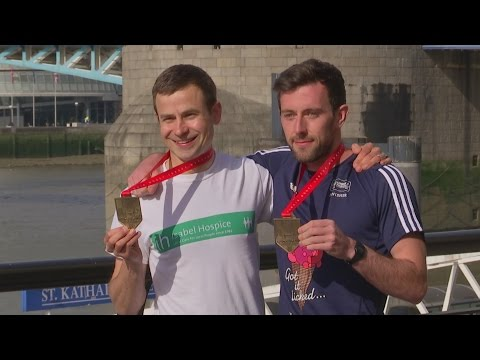 Marathon runners reunite after heroic finish line rescue