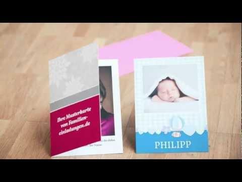 Beispiel: Musterkarten, Video: Familieneinladungen.