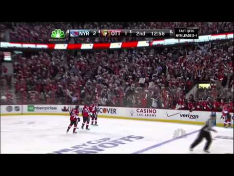 Milan Michalek goal. NY Rangers vs Ottawa Senators. 4/18/12 NHL Hockey