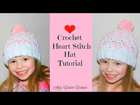 Crochet Heart Stitch Hat Tutorial Part 1