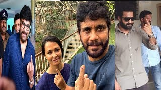 Tollywood Super Stars Cast Their Vote In Telangana - RAJSHRITELUGU