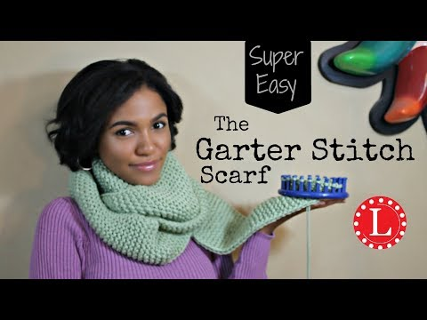 LOOM KNIT Scarf - Knitting for Beginners on Round Loom -  No Curl Garter Stitch Scarves
