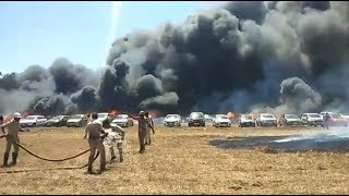 Bengaluru: Fire engulfs parking lot near Aero India 2019 show, 100 vehicles gutted - NEWSXLIVE