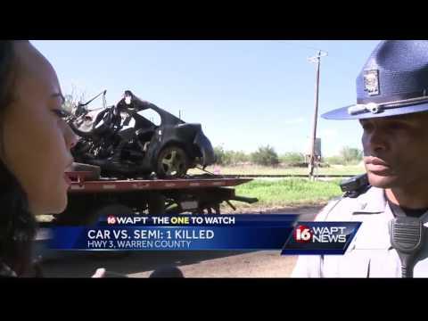Car crashes into 18-wheeler