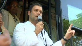 Rahul Gandhi slams PM Modi during his road show in Karnataka - TIMESOFINDIACHANNEL
