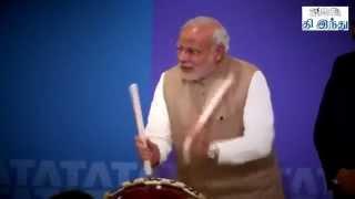 Modi playing Drums during Japan Visit
