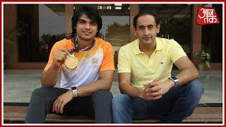 Asian Games में Javelin Throw के Gold पदक विजेता Neeraj Chopra के साथ Exclusive बात चीत - AAJTAKTV