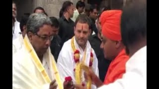 Rahul Gandhi appears in a different getup during his visit at Chikkamagaluru temple in Kar - ABPNEWSTV
