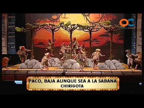 Sesión de Cuartos de final, la agrupación Paco, baja aunque sea a la sabana actúa hoy en la modalidad de Chirigotas.