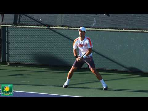 Novak Djokovic playing practice points in slow motion HD -- Indian Wells Pt.  06