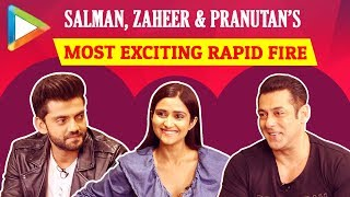 Salman Khan, Zaheer Iqbal & Pranutan Bahl's HILARIOUS Rapid Fire On SRK, Aamir, Alia & Katrina - HUNGAMA