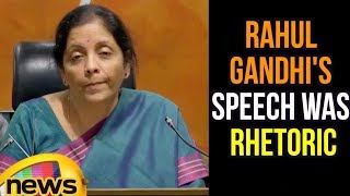 Defence Minister Nirmala Sitharaman Says Rahul Gandhi's Speech Was Nothing But Rhetoric | Mango News - MANGONEWS