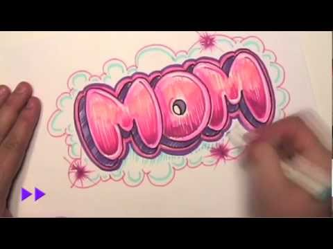 How to Draw Graffiti Letters - Write Mom in Bubble Letters