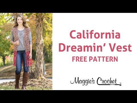 California Dream Vest Free Crochet Pattern with Suede Circles Yarn - Right Handed