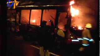 Bus On Way To  Rajiv Gandhi International Airport Catches Fire; None hurt - ETV2INDIA