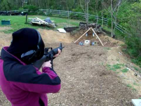 Alhea shoots the BushMaster AR-15 for the 1st time..MOV