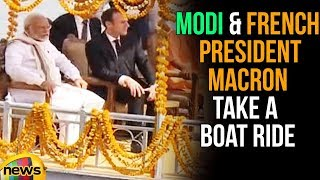 PM Modi And French President Macron Take A Boat Ride Along The Ganga Ghats in Varanasi | Mango News - MANGONEWS
