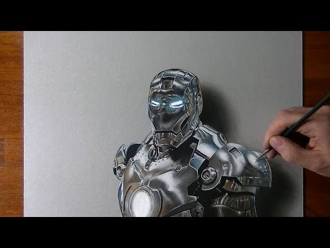 Drawing time lapse: Iron Man - hyperrealistic art