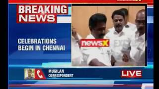 Celebrations begin in Chennai after EPS-OPS AIADMK faction won party's two-leaf symbol - NEWSXLIVE