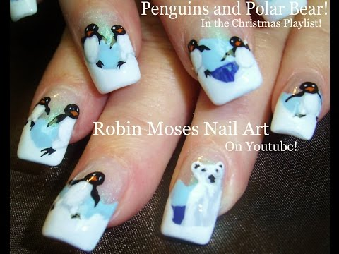 Nail Art Tutorial | Christmas Nail Art | DIY Polar Bear & Penguin Nails!